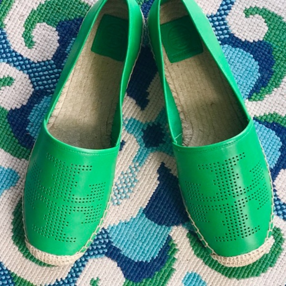 353351b40 Tory Burch Perforated Logo Leather Flat Espadrille